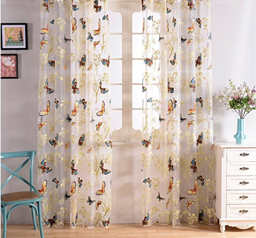 Pureaqu New Fashion Butterfly Luxury Window Sheer W52xH84 Curtain Panel For Living Room Bedding Room Romantic Tulle Window Screens Room Door Balcony Curtain Panel Sheer Scarfs 1Panel (Embroidered Valance Scarf Curtain)