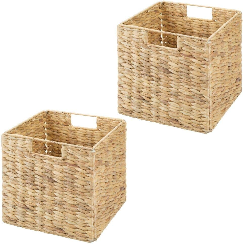 Bathroom 2 Pack for Cube Furniture Shelving in Closet 10.5 High Entryway mDesign Natural Woven Hyacinth Closet Storage Organizer Basket Bin Natural//Tan Office Collapsible Bedroom