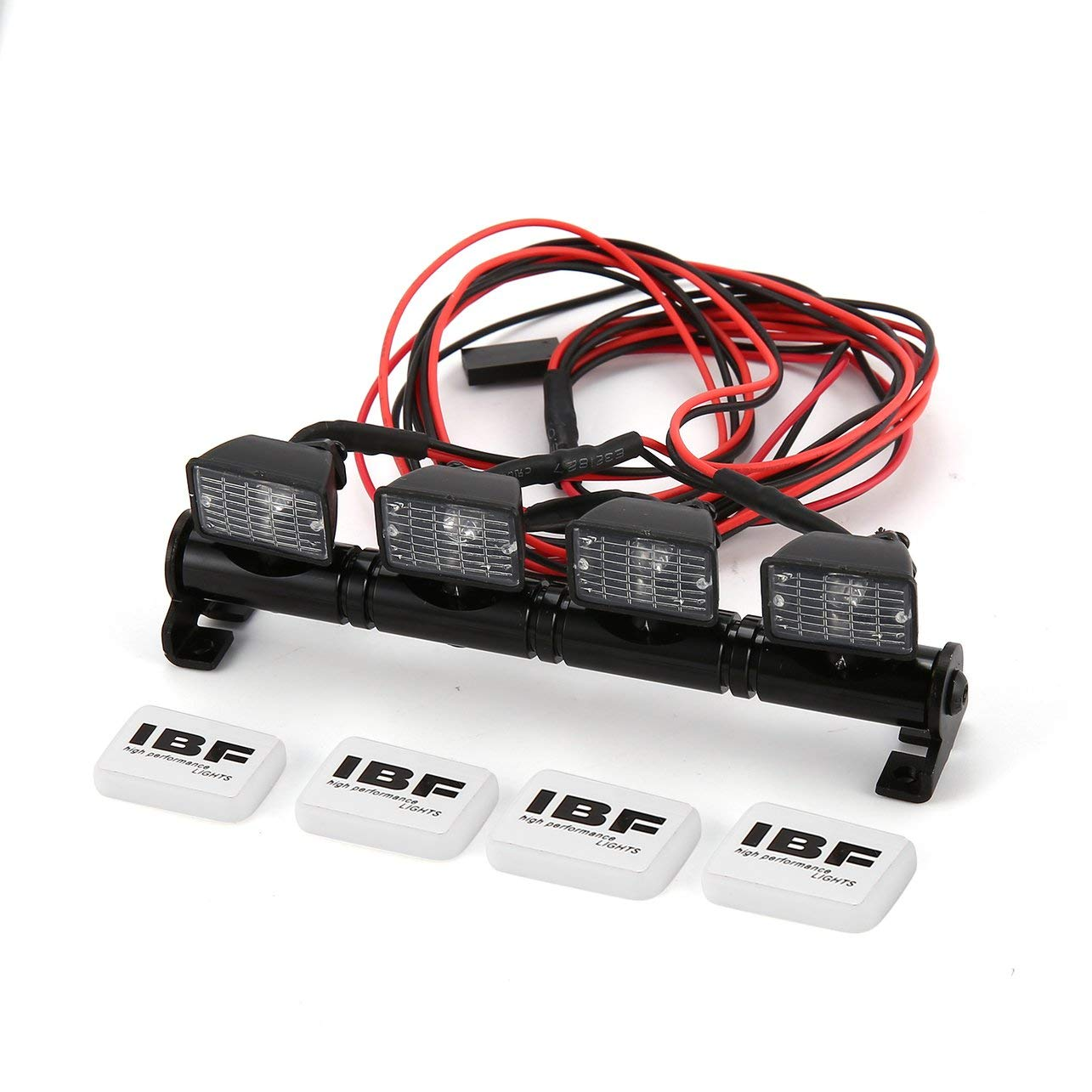 Square Roof Light Bar LED Lamp Bar RC Car Crawler Axial SCX10 D90 TRX-4, Black WOSOSYEYO