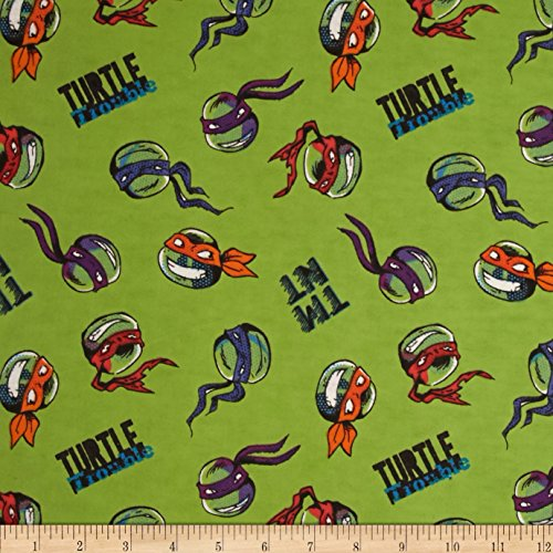 Springs Creative Products Nickelodeon TMNT Flannel Turtle Trouble Green Fabric by The Yard, -