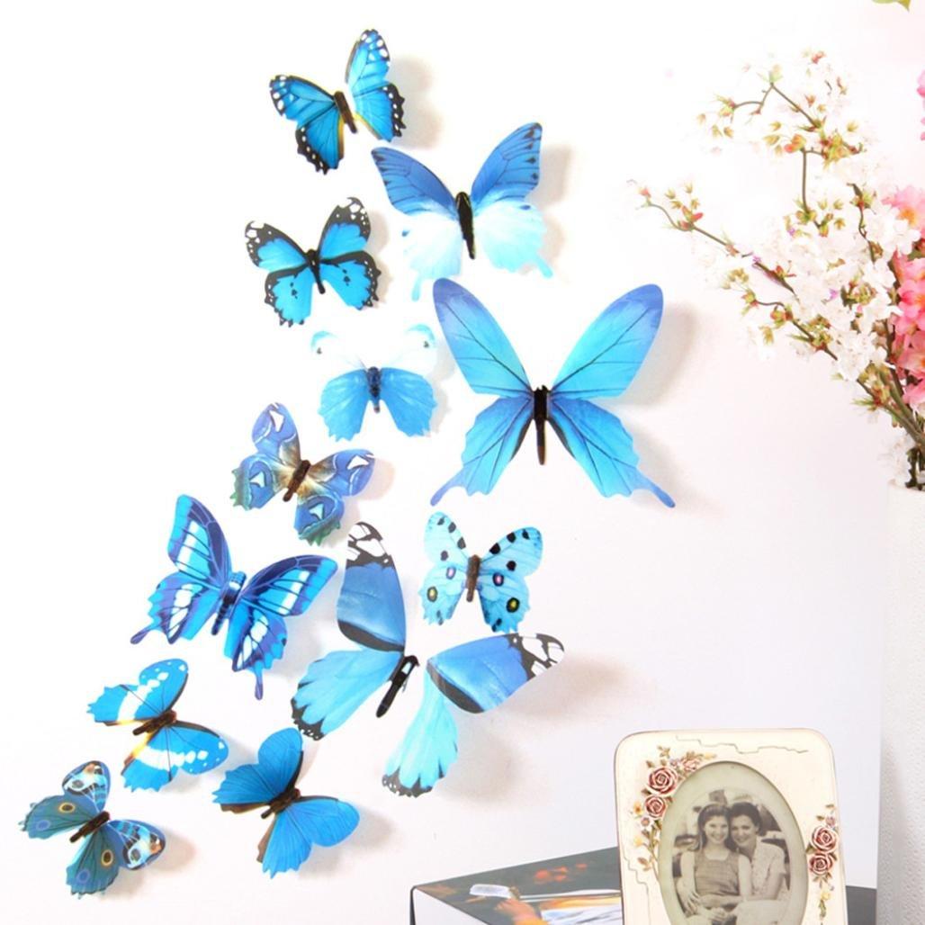 Wuayi 3D Schmetterling-Aufkleber, Wandsticker, modisches Design, zum Basteln, für das Haus, Babyzimmer, 12 Stück, PVC, rose, 11CM(2pcs),8CM(2pcs),6CM(8pcs) für das Haus 12 Stück