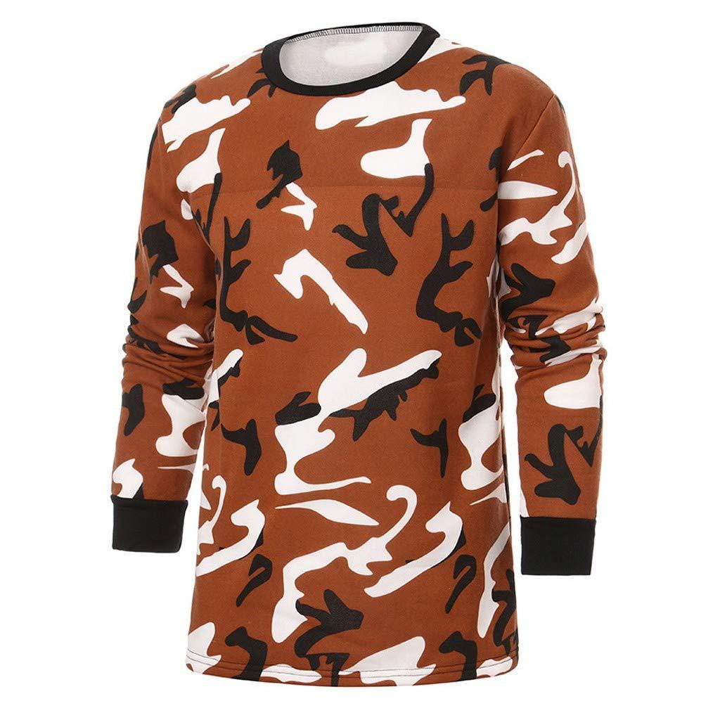 Lucoo Men Blouse,Men Autumn Winter Camouflage Print Long Sleeve O Neck Tops Blouse T Shirt