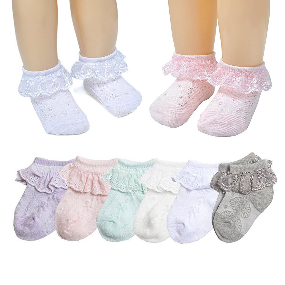 Baby Summer Girls' Princess Lace Thin Spring Summer Cotton Socks Dressy Socks (Multicoloured, L(3-5T))
