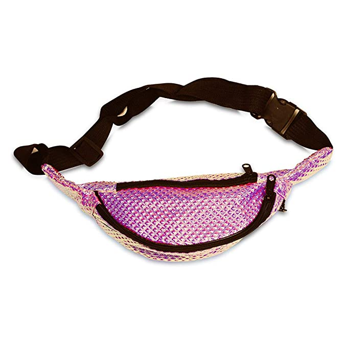 11bb0b9dfea4 FACE1ST Multicolored Hologram Waist Bum Bag Mermaid Unicorn Style Fanny  Pack - Assorted Colors (Pink)