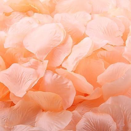 amazon com 1000pcs peach artificial silk rose flower petals wedding