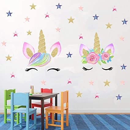 Amazon Com Easu Unicorn Wall Decals Unicorn Star Wall Decals Girls