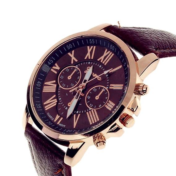 TrifyCore Reloj de Mujer Geneva Correa Doble Capa Nueva marrón 1 Paquete (con Cargo)