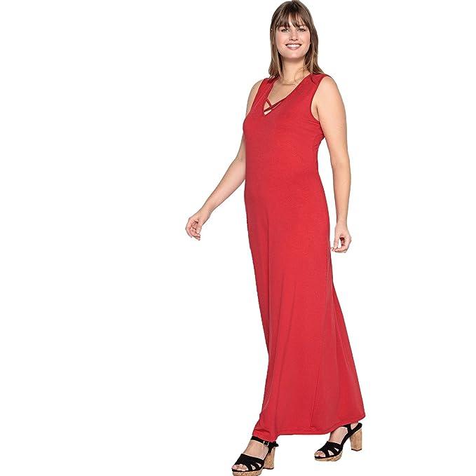 94311cf2f6af CASTALUNA Donna Abito Lungo In Maglia Taglia 46 Rosso  Amazon.it   Abbigliamento