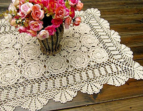 - Damanni Rectangular Cotton Handmade Crochet Lace Table Runner Doilies Table Dresser Scarf Décor,19 Inch by 35 Inch,Beige