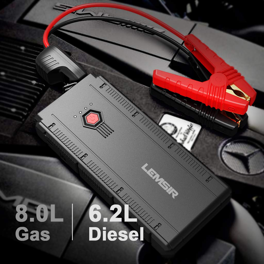 LEMSIR QDSP 1500A Peak Portable Car Jump Starter 12V Auto Battery Booster up to 8.0L Gas or 6.2L Diesel Power Pack with Smart Jumper Cables V2 by LEMSIR (Image #2)