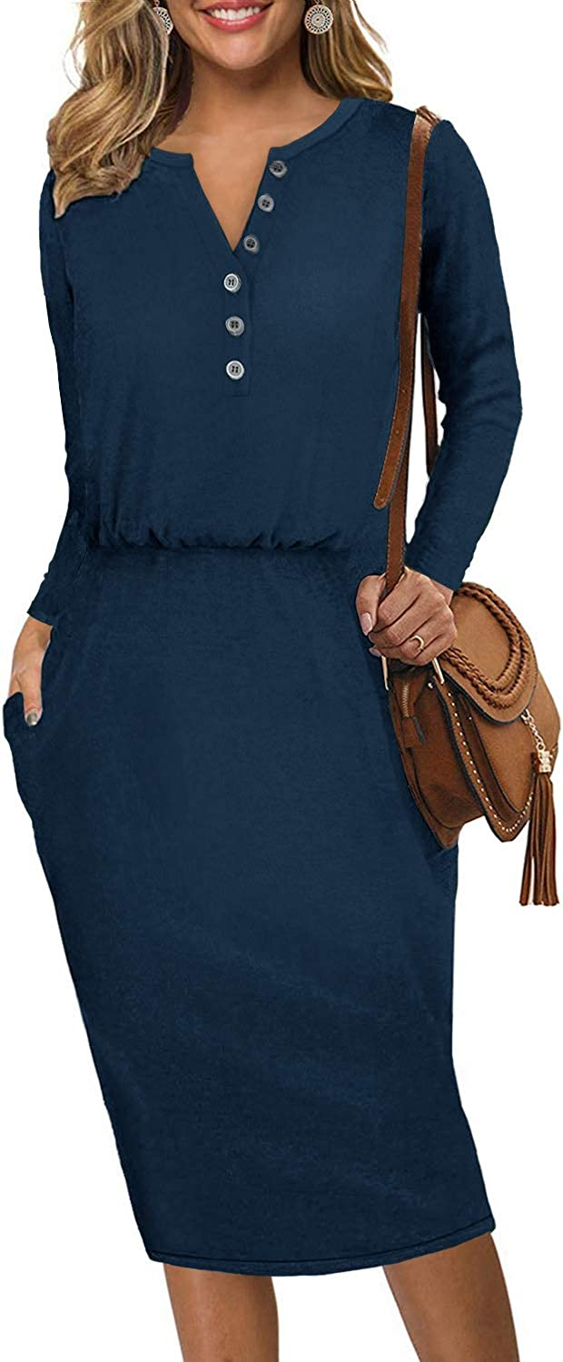 Moyabo Women's Long Sleeve Henley Button Down Hips-Wrapped Casual Office Pencil Dress