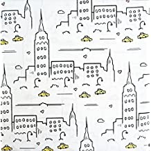 Bedding 3 Piece Twin Size Microfiber Bed Sheet Set Yellow Taxis Buildings New York City -- Cityscape