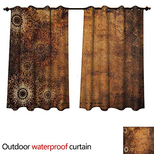 WilliamsDecor Tan Home Patio Outdoor Curtain Aged Old Texture Print Artistic Floral Motifs Vintage Upholstery Concept W108 x L72(274cm x 183cm) (Ashton Upholstery)