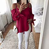 Women Cold Shoulder Blouse,Casual Off Shoulder Long Sleeve Loose T-Shirt ANJUNIE Tank Tunic Top(Red,XL