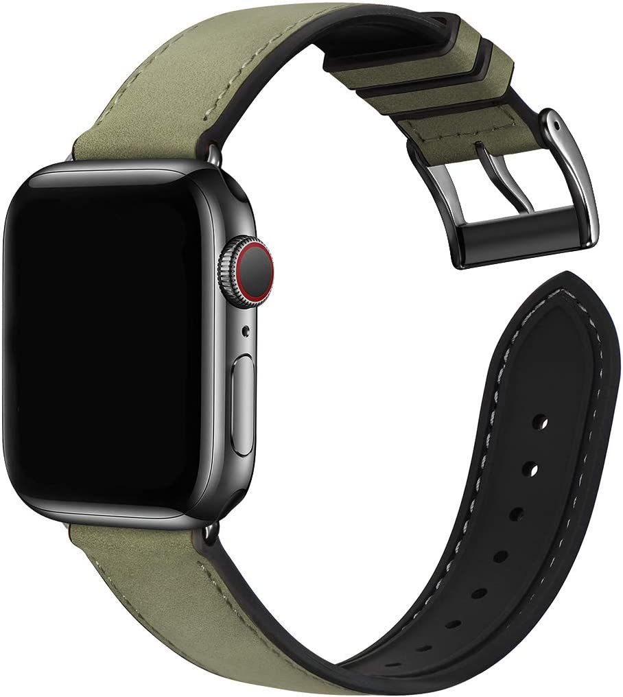 Bestig Compatible with Apple Watch Bands,Waterproof Genuine Leather and Silicone Hybrid Strap for iwach SE Series 6 5 4 3 2 1,Sports Edition(Army Green Band+Black Connector,38mm 40mm)[Upgraded]