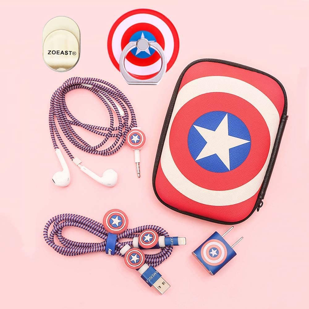 ZOEAST(TM) DIY Protector Data Cable USB Charger Line Earphone Wire Saver Organizer Compatible with iPhone 11 Pro Max XS XR X 8 Plus iPad iPod iWatch (Advanced Styles, Captain America)