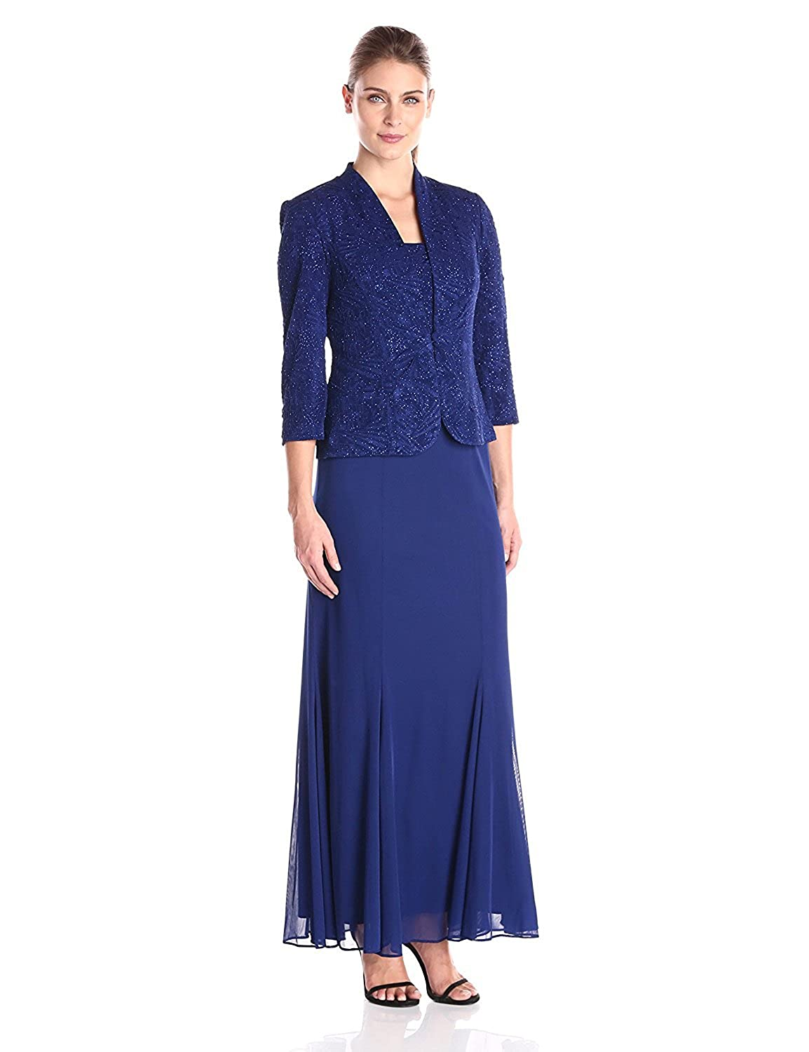 Alex Evenings Women's Long Jacket Gown with Chiffon Skirt Electric Blue 12 [並行輸入品] B075CHXV5T