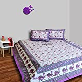 traditional mafia rses777707 Floral Vine Pure Cotton Printed Double Bedsheet with 2 Pillow Covers, King, Purple