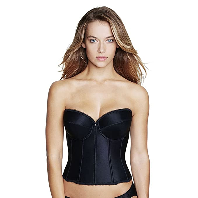 36dfb1d6d Image Unavailable. Image not available for. Color  Dominique Satin Low Back  Strapless Underwire Bustier ...