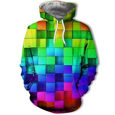 849 Unisex Hombre Personalidad Europea y Americana impresión Digital 3D suéter de Moda para Hombres, Sudadera con Capucha Sudadera otoño, una Pieza, Vistoso, M: Ropa y accesorios