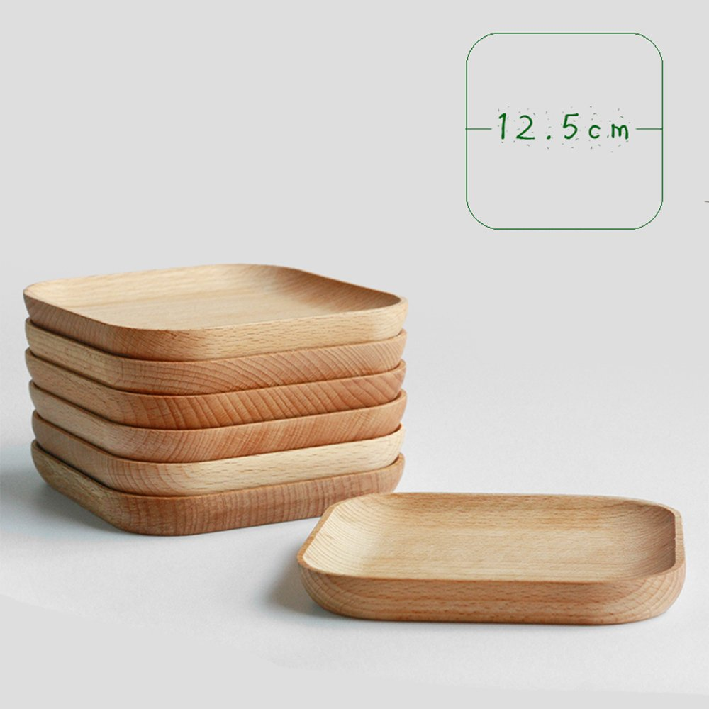 XDOBO Natural Beech Wood Serving Dishes - Handmade Mini Dessert Plates - Safe and Eco-friendly - Pack of (4)