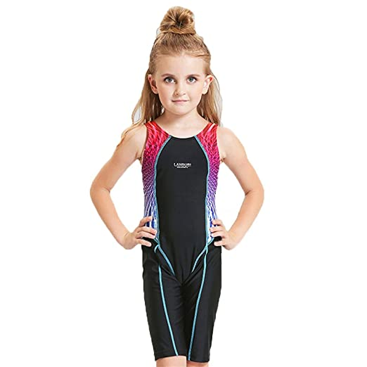 7f4c196d4ddb Peacoco Kids Girls  Solid Splice Athletic One-Piece Swimsuits Racerback  Competive Legsuit For 5