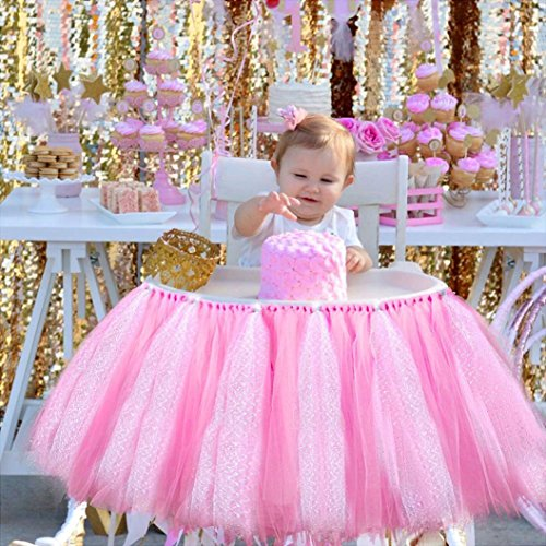 Tulle Tutu Table Skirt for 1st Birthday Girl High Chair Decorations Pink and Silver for Party, Wedding And Home Decoration (Pink&Silver, 39'' length x 15.7'' height) by Lansian