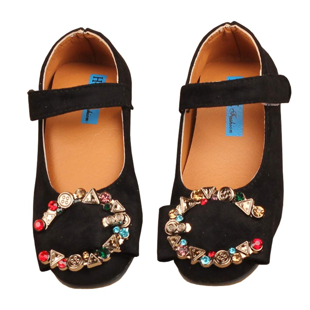 lakiolins Girls Shiny Colorful Beads C Buckle Suede Mary Jane Ballet Flats Dress Shoes Black Size 23