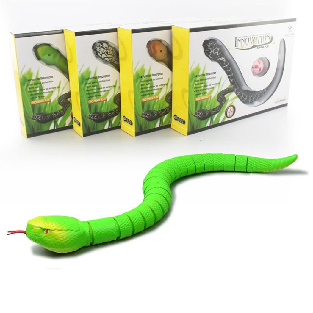 Binmer(TM) Remote Control Snake Rattlesnake Animal Trick Terrifying Mischief Toy (green)