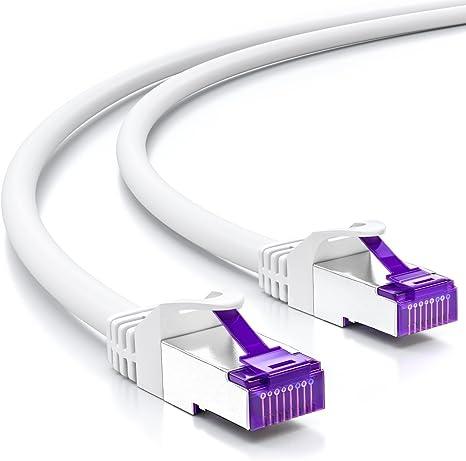 0,5m CAT 7 Cavo Patch Cavo di rete Cavo Ethernet DSL LAN Cavo 50cm-Bianco