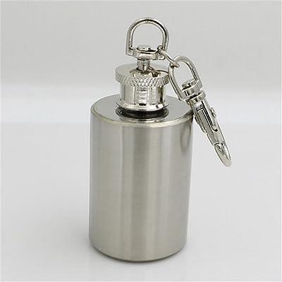 délicat Mini 28,3gram Portable Thermos en acier inoxydable cylindrique Flacon de tabac à priser Porte-clés pliables