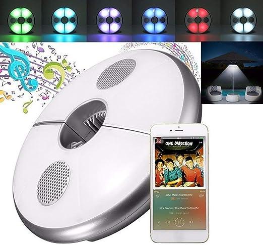 Lámpara para Sombrilla,Luz Parasol 64 LED inalámbrico con Bluetooth 3.0 USB recargable altavoz de audio Iluminación Nocturna para Sombrillas y Paraguas de Playa, Patio, Jardín y Piscina: Amazon.es: Iluminación