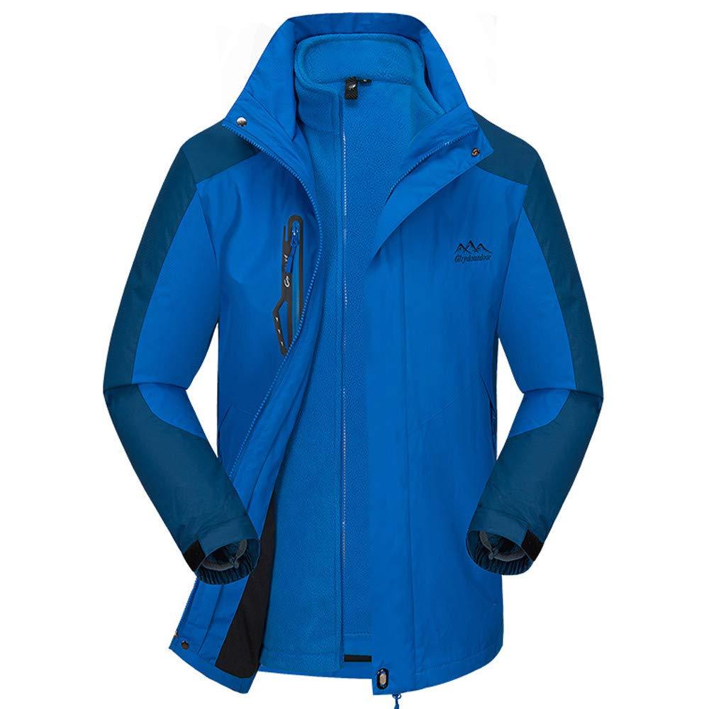 DBolomm メンズ 秋冬用コート 3-in-1 メンズ ハイキング 暖かい 防水 スキージャケット フード付き レインコート B07JZF547P X-Large|ブルー ブルー X-Large