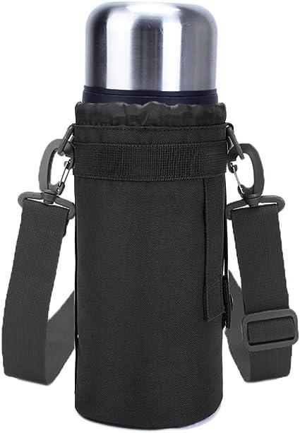 Water Bottle Cover Pouch Drawstring Adjustable Strap Shoulder Bag Holder Carrier