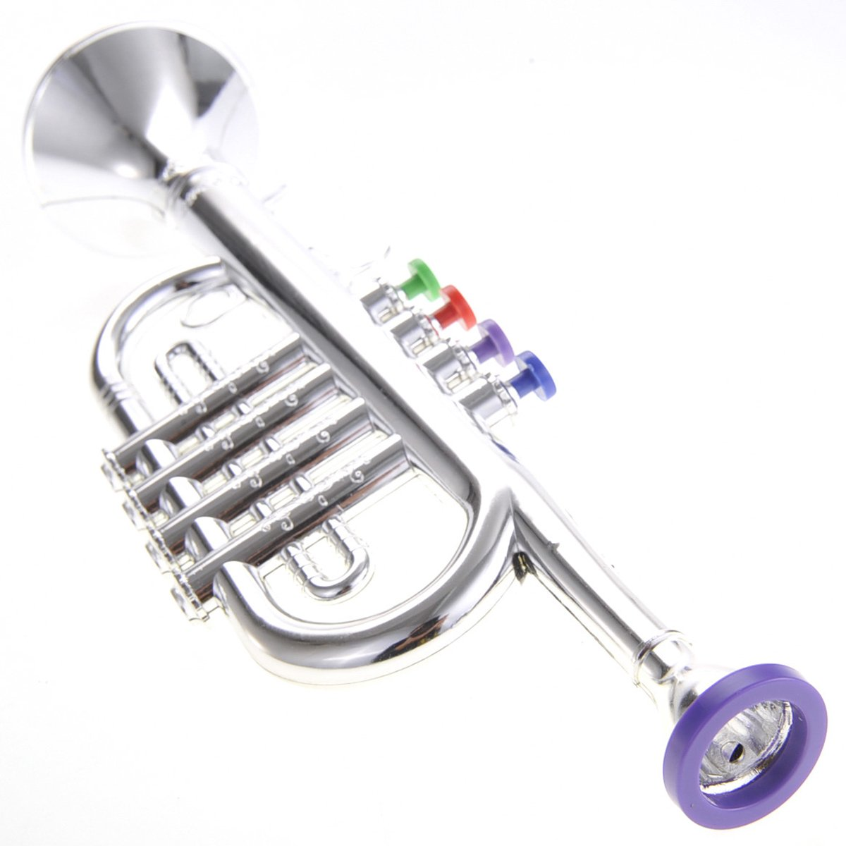Cottontail Kids Musical Instrument Toy Metallic Silver Trumpet 14.5'' by Cottontail