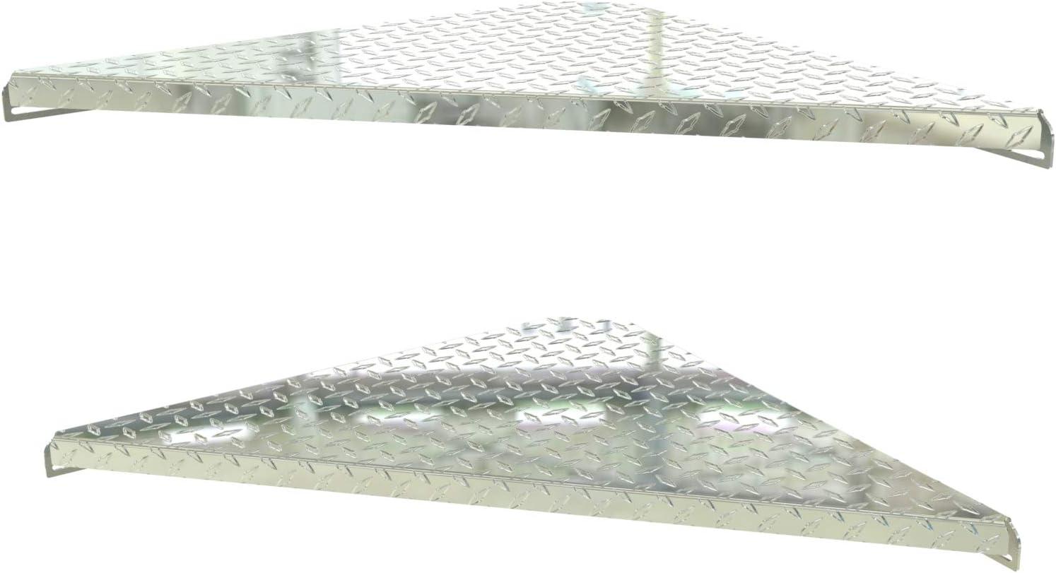 Heavy Duty and Made in The USA Corner Floating Shelf, Floating Corner Shelves for Home, Workshop, or Storage. Triangle Bookshelf (2, Aluminum Diamond Tread Plate)