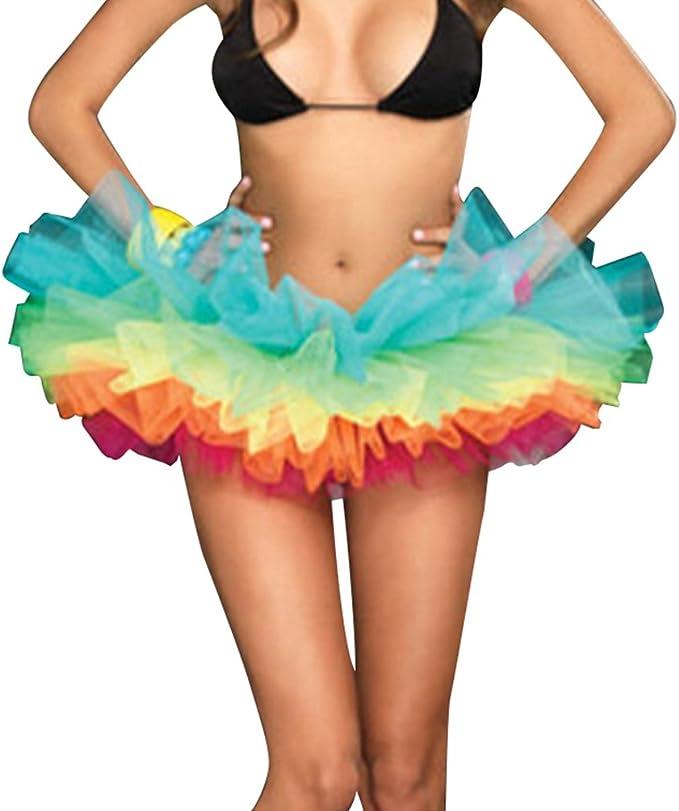 Lvguang Mujeres Plisadas Falda de Gasa de Adultos Falda de Baile ...