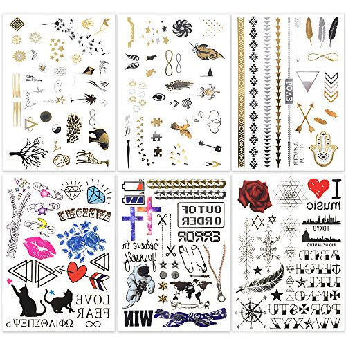 Hakuna 6 Sheets Temporary Tattoos – Over 130+ Long lasting Fake Tattoo Designs in Black, Gold, Sliver Bling with Colors. Type: Letter, Star, Bird, Feather, Cat, Tree, etc.