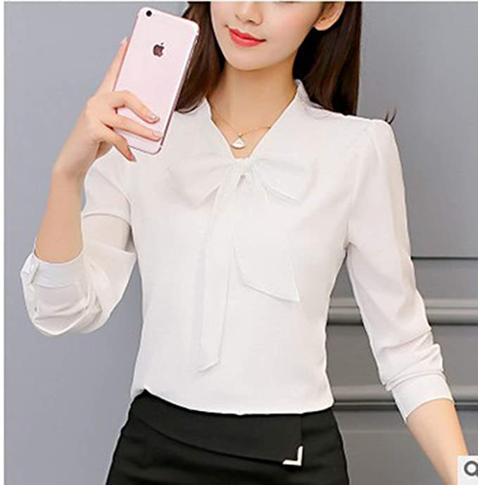 b326ba8a9793 Spring Autumn The New Korean Casual Chiffon Blouse Shirt Pink White Office Women  Shirt Chiffon Women