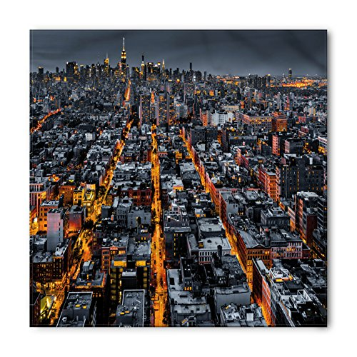 City Bandana by Ambesonne, Avenues Converging Towards Midtown in New York America Architecture Aerial, Printed Unisex Bandana Head and Neck Tie Scarf Headband, 22 X 22 Inches, Marigold Grey - New Avenue Of York Americas The