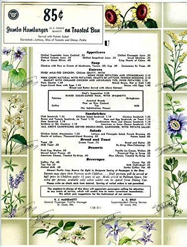 Missouri Pacific Lines Railroad Silver Platter Dinner Menu ()
