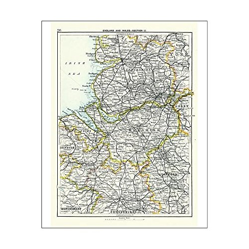 Media Storehouse 10x8 Print of Antique map, Lancashire, Cheshire, Stafford, Liverpool, 19th Century (15107373) ()