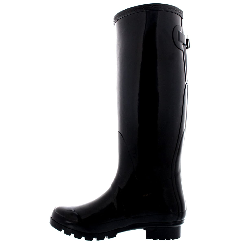 Damen Adjustable Back Tall Gloss Regen Wellies Gummistiefel Stiefel - Schwarz - 40 - CD0019 Q8Hhm