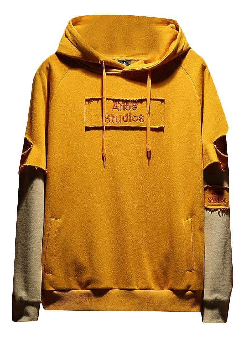 CBTLVSN Men Letter Print Hooded Pullover Sweatshirt with Pocket