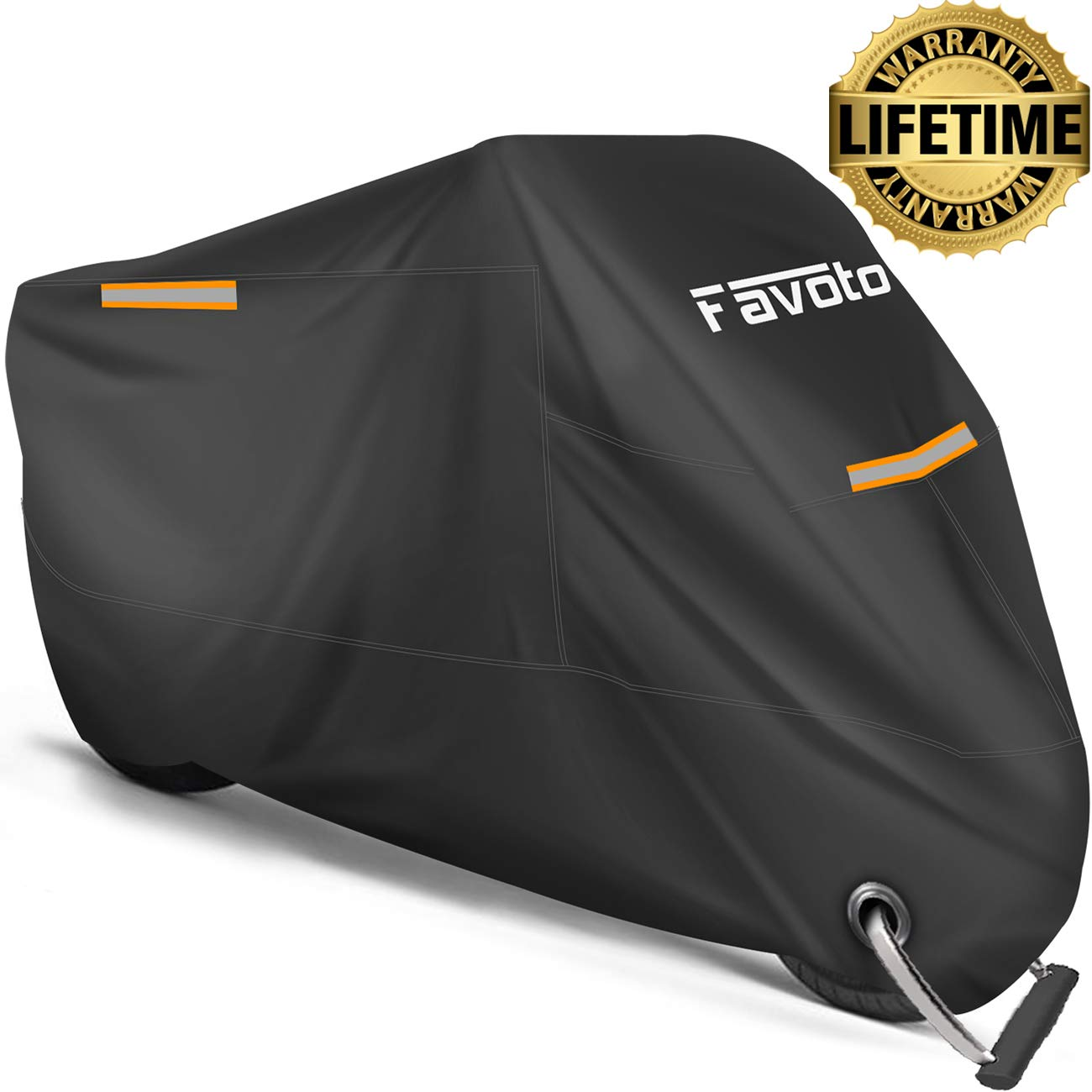 """Favoto Motorcycle Cover All Season Universal Weather Premium Quality Waterproof Sun Outdoor Protection Durable Reflective Stripe with Lock-Holes & Storage Bag Fits up to 104"""" Motorcycle Vehicle Cover"""