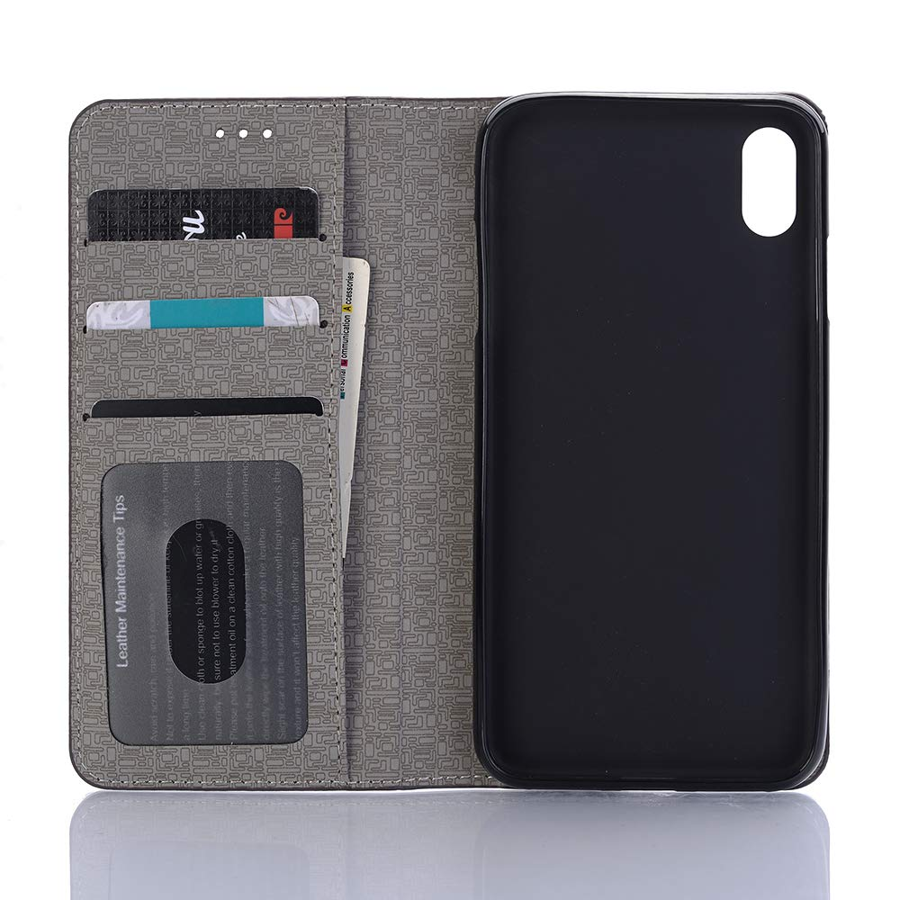 Case for iPhone XR,Miya Premium Pu Leather Case with Card Slot Cash Holder Pockets Kickstand Smart Case Folio Flip Shockproof Protective Cover for Ladies Men Girls for Apple iPhone XR - Dark Brown by MIYA LTD (Image #3)