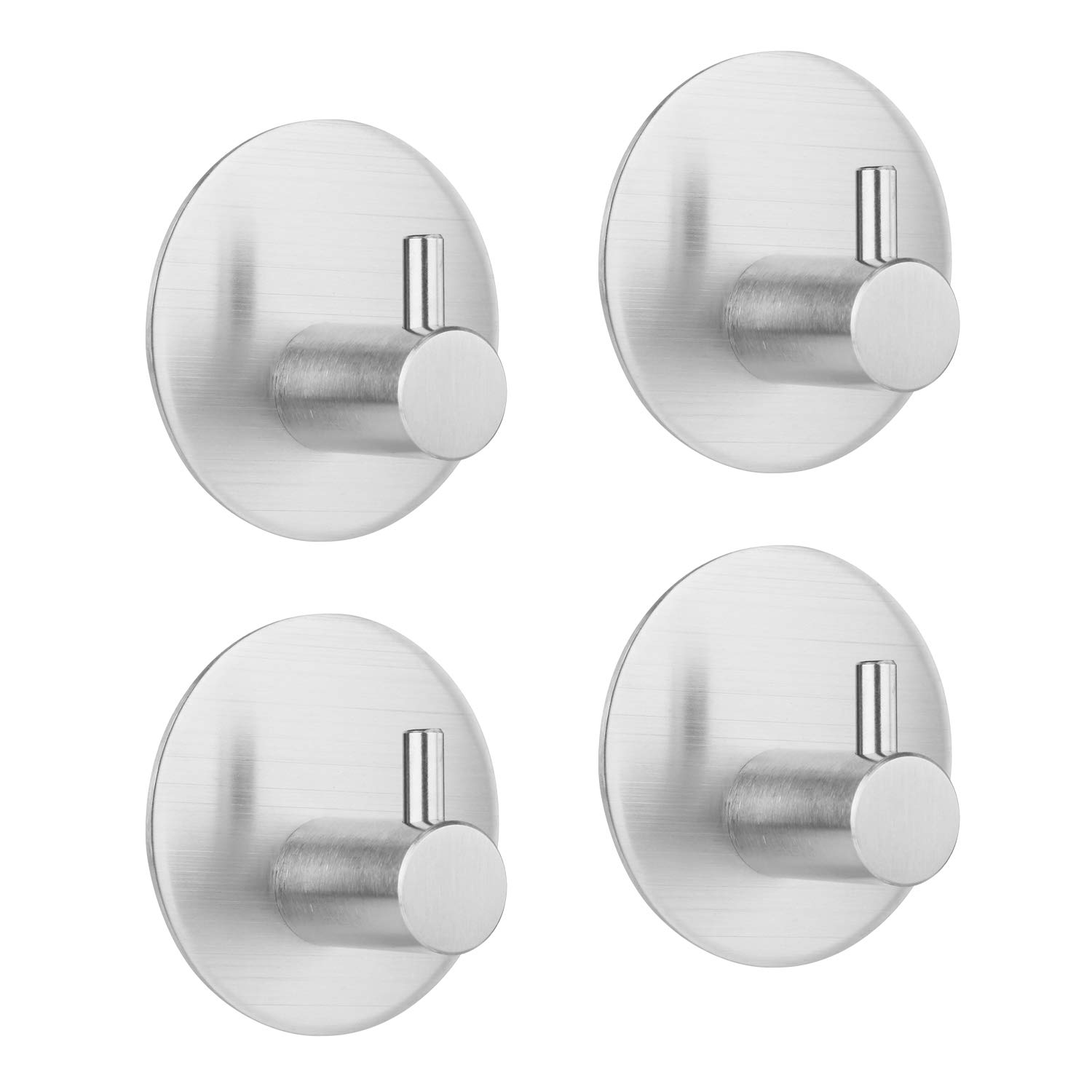 Hgery Self Adhesive Wall Hooks, 3M Adhesive Hooks for Towel Key Robe Coat, Super Strong Heavy Duty Stainless Steel Wall Mount Hooks, No Dill No Screw, Waterproof, for Kitchen Bathroom Toilet, 4 Pieces