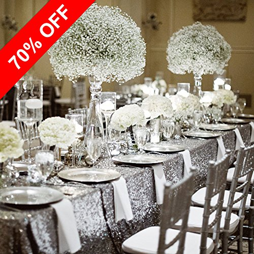 "Stylish Glitter Sequins Table Cloth - PONY DANCE Decorative Hand Made Solid Sequin Table Cover For Party/Café/Wedding,53"" x 72""(135 x 182 cm),Silver"
