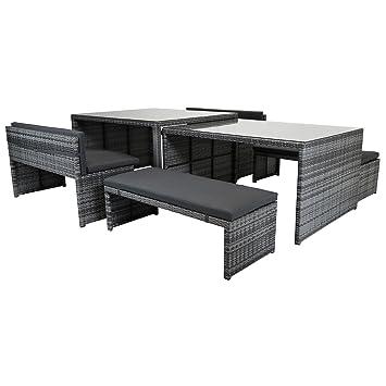 Charles Bentley rectangular 8-10 plazas Rattan Juego de comedor de ...