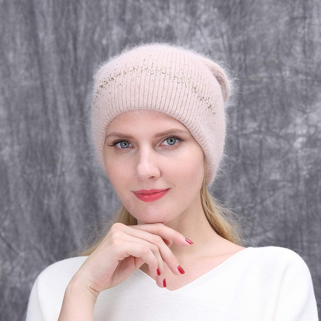 URSFUR Winter Knitted Rabbit Baggy Beanies Hat with Rhinestones for Lady Double Slouchy Cap